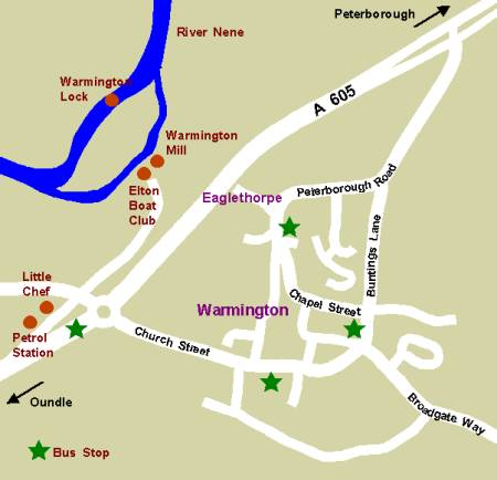 Map of Warmington Showing Bus Stops